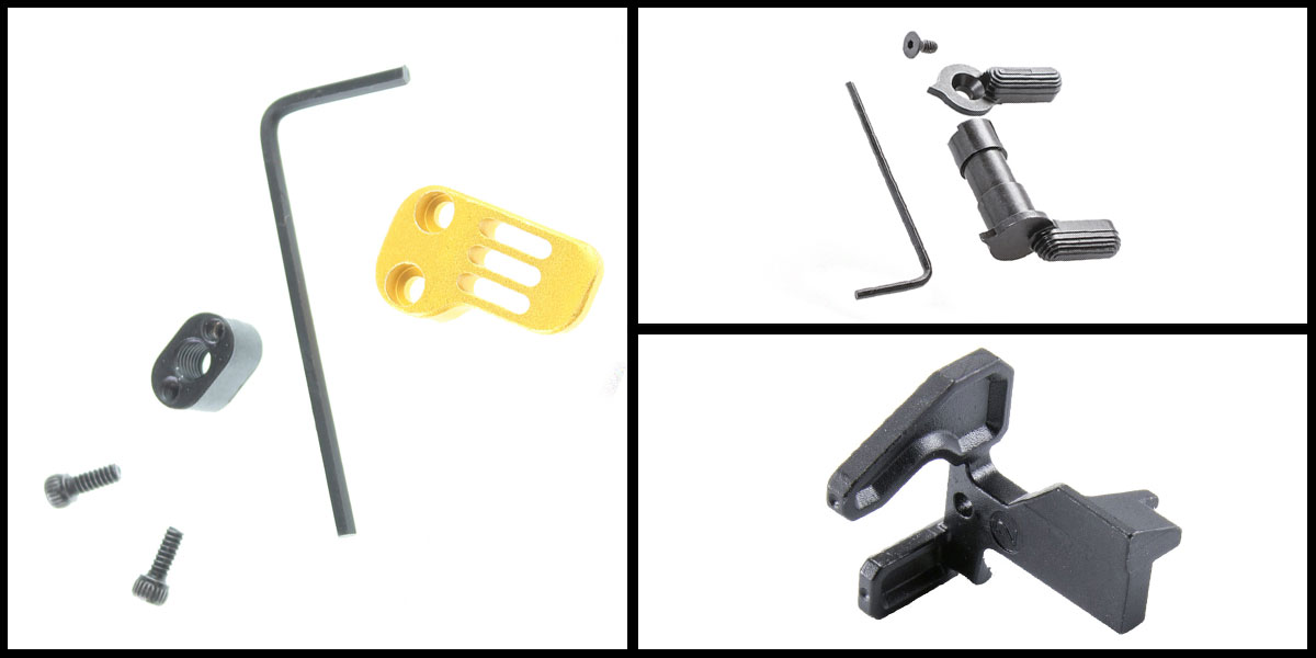 Delta Deals Geissele Maritime Bolt Catch + Guntec Extended Mag Catch Paddle Release - Gold + CMMG Ambi Safety Selector