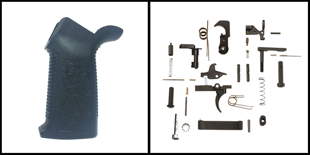 Delta Deals KAK AR-15 Lower Parts Kit w/ no Grip + Spike's Tactical Pro Grip Polymer - Matte Black