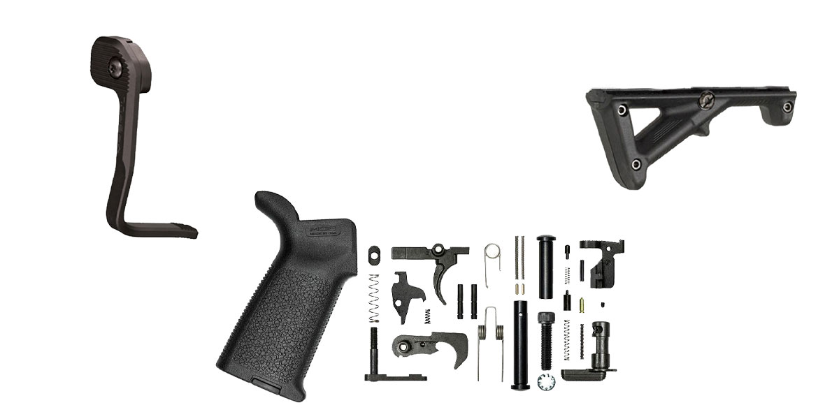 Delta Deals Aero Precision M5 Lower Parts Kit w/ Magpul MOE - BLK + Magpul AFG 2 Angled Forend Grip AR-15 Black Polymer + Magpul Industries Enhanced AR Magazine Release