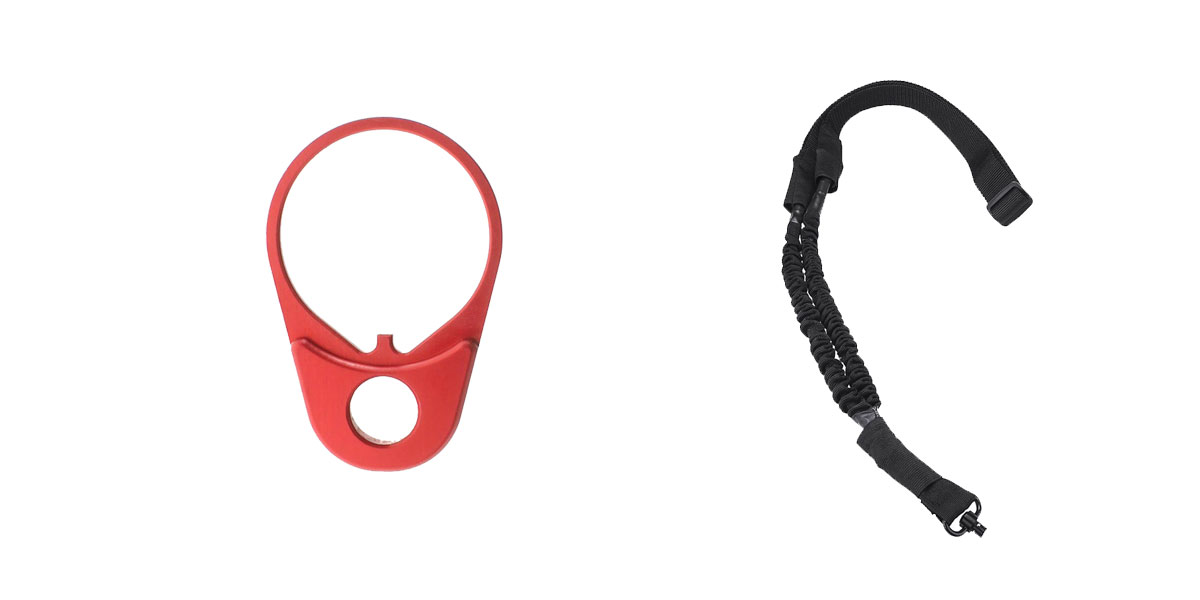 Delta Deals One Point Bungee sling with QD + Timber Creek Outdoors QD End Plate - Red