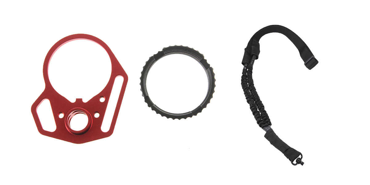 Delta Deals One Point Bungee sling with QD + Strike Industries RED Multi-Function End Plate w/ Black Anti-Rotation Castle Nut