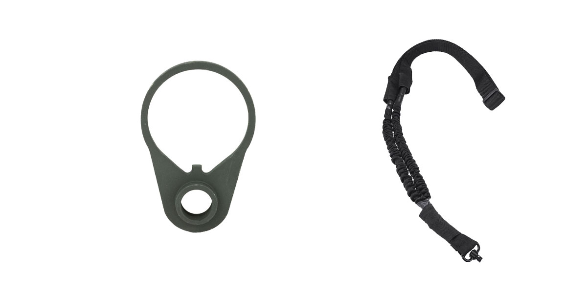 Delta Deals One Point Bungee sling with QD + B5 End Plate BLK