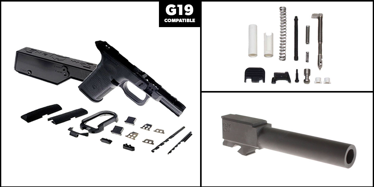 Delta Deals DIY Pistol Kits Featuring: Lone Wolf Frame G19/G23 + Cold Hammer Forged Non-Threaded 9mm Barrel + Lone Wolf Slide Parts Completion Kit