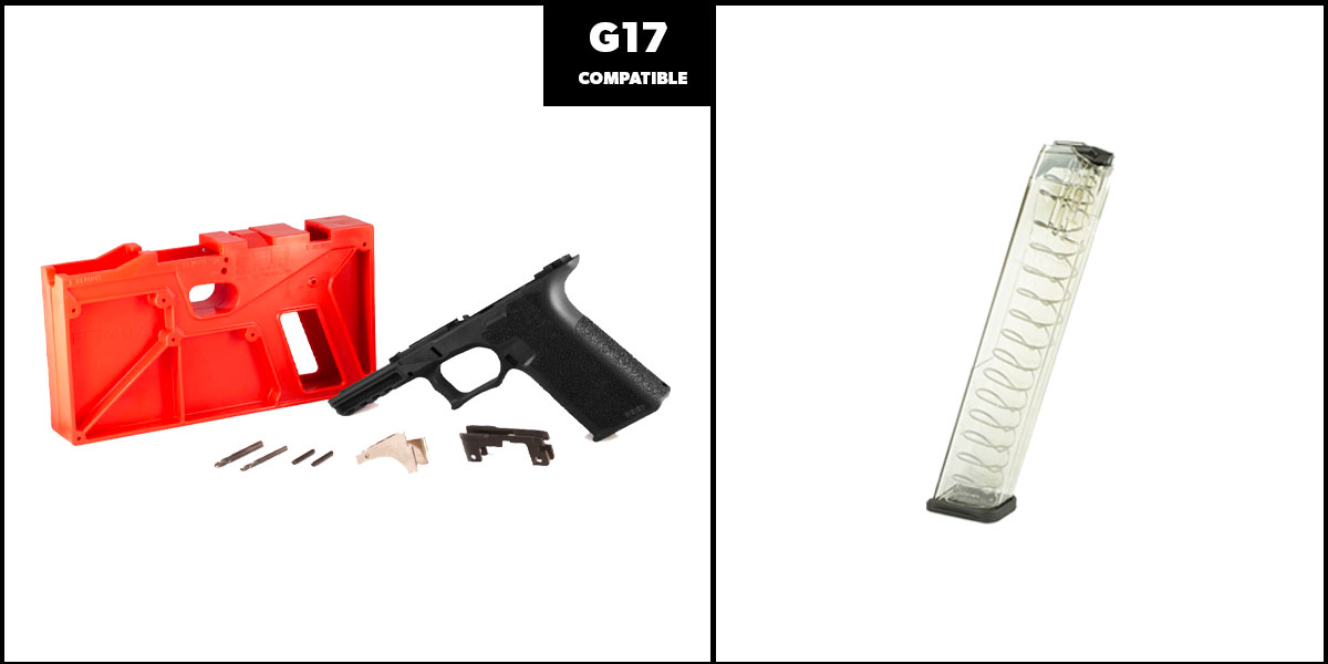 Delta Deals DIY Pistol Kits Featuring: Polymer 80 G17 Frame + ETS Mag For Glock 9mm 31 Rd Smoke