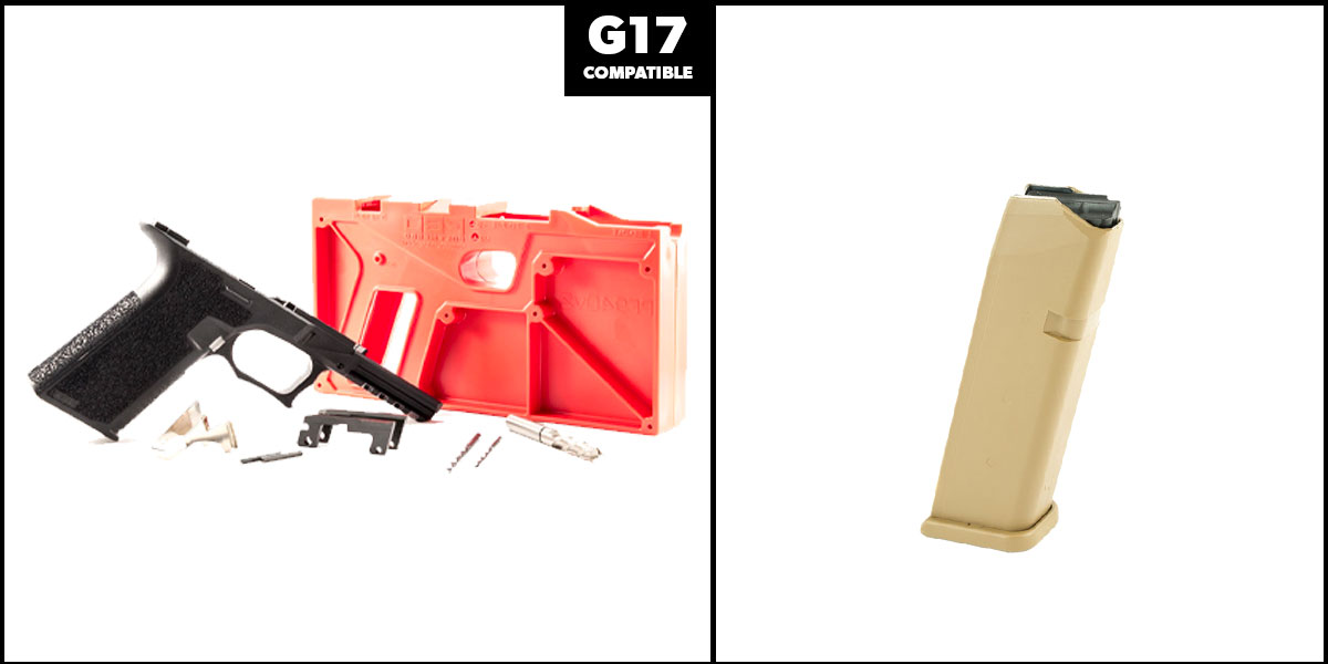 Delta Deals DIY Pistol Kits Featuring: Polymer 80 G17 Frame + Glock Mag for G19X/G17, Coyote Tan, 17 Rd 9mm