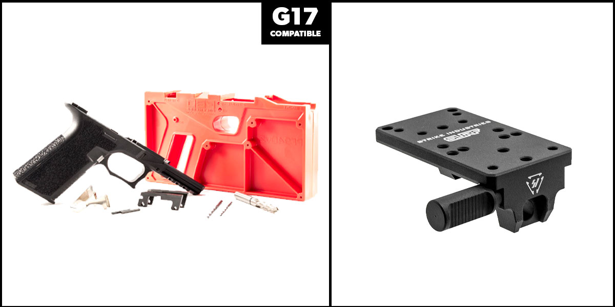 Delta Deals DIY Pistol Kits Featuring: Polymer 80 G17 Frame + Strike Industries Scorpion Universal Reflex Mount for GLOCK