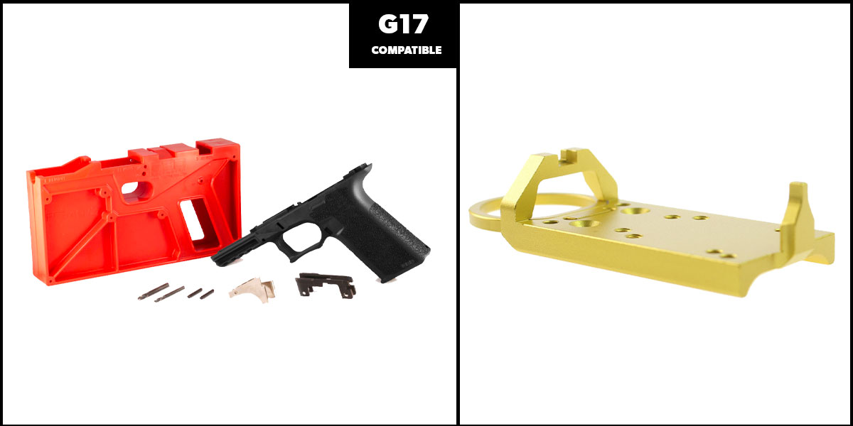 Delta Deals DIY Pistol Kits Featuring: Polymer 80 G17 Frame + Glock Rear Sight Red Dot Conversion Plate - Gold
