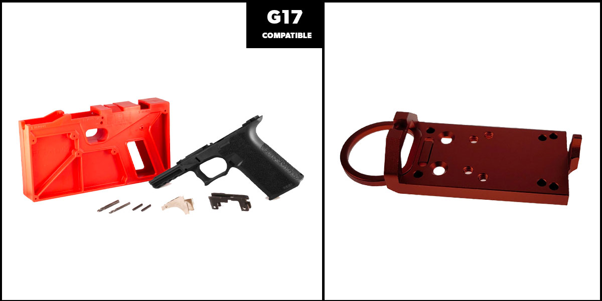 Delta Deals DIY Pistol Kits Featuring: Polymer 80 G17 Frame + Glock Rear Sight Red Dot Conversion Plate - Red