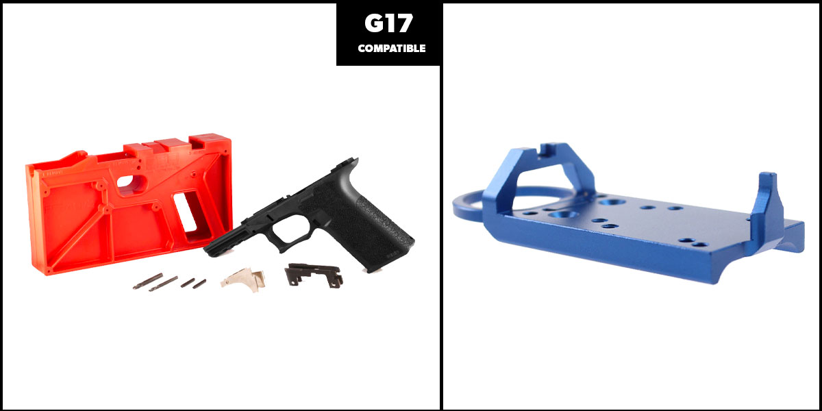 Delta Deals DIY Pistol Kits Featuring: Polymer 80 G17 Frame + Glock Rear Sight Red Dot Conversion Plate - Blue