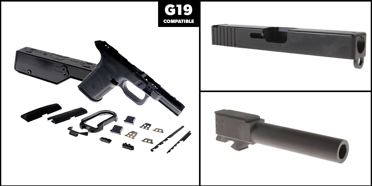 Delta Deals DIY Pistol Kits Featuring: Lone Wolf Frame G19/G23 + ELD Performance Slide G19 + Cold Hammer Forged Non-Threaded 9mm Barrel