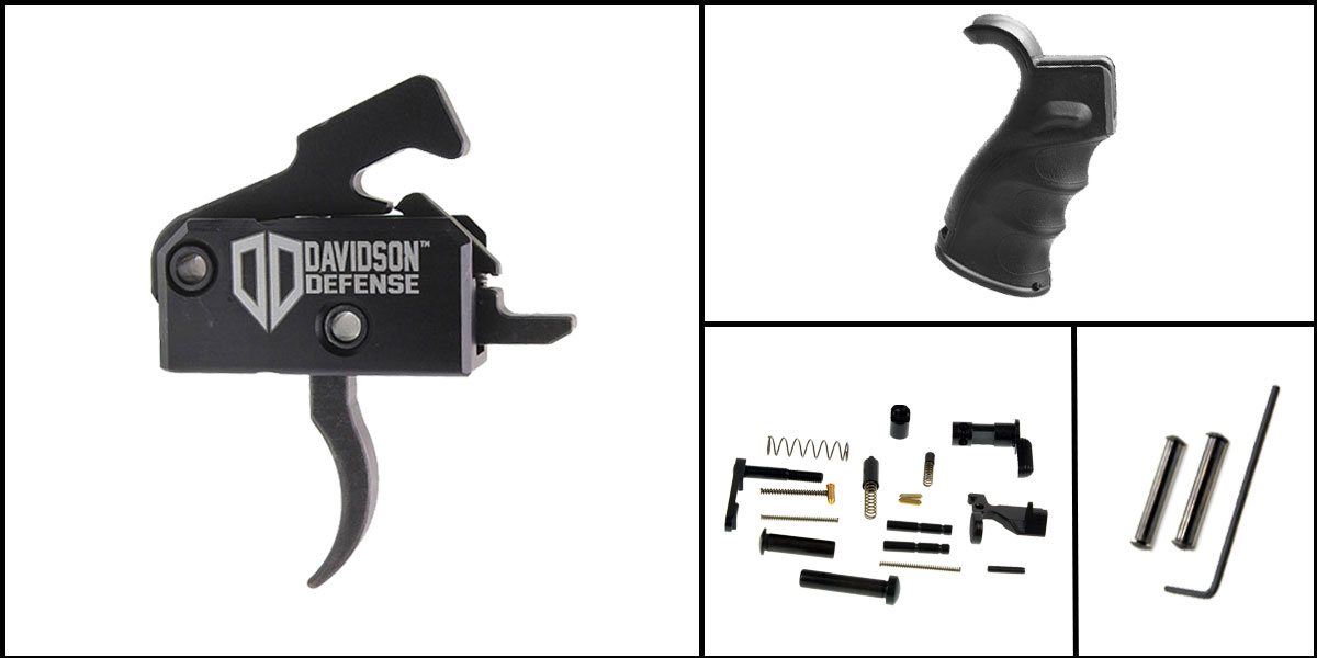 Delta Deals AR-15 Trigger Upgrade Kit Including Rise Armament Trigger + CMMG Lower Parts Kit + M4 Polymer Pistol Grip + Davidson Defense Anti Walk Pins