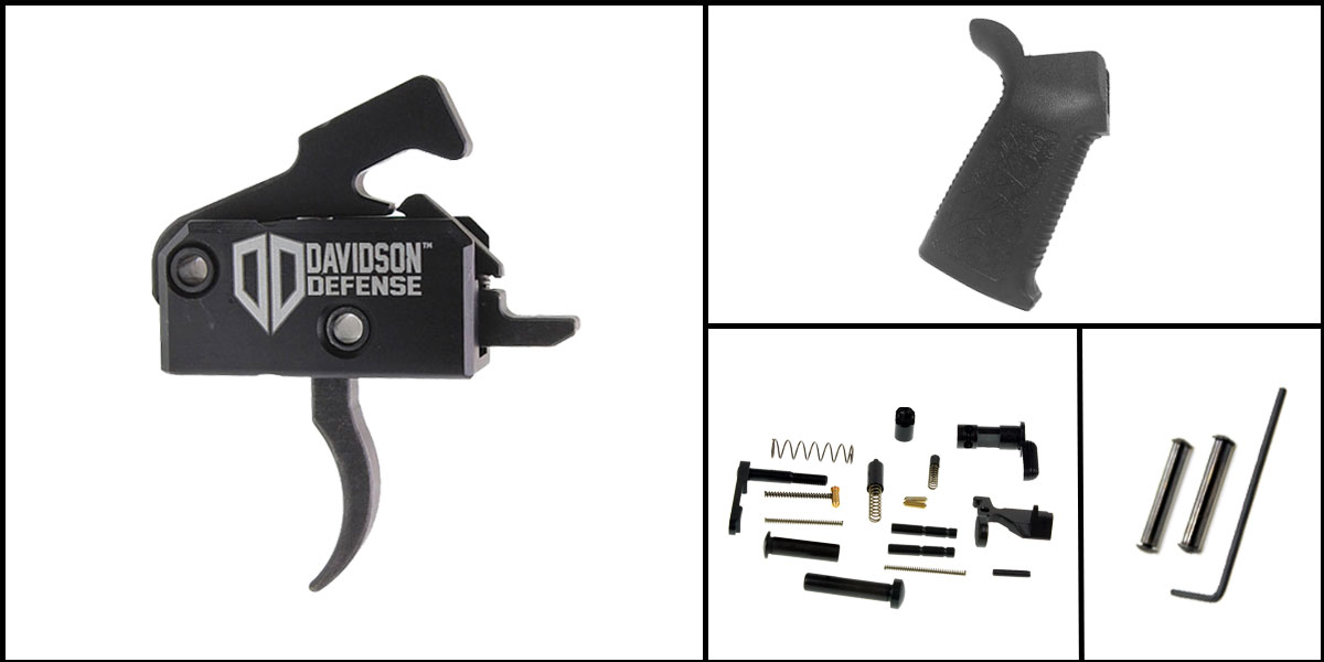 Delta Deals AR-15 Trigger Upgrade Kit Including Rise Armament Trigger + CMMG Lower Parts Kit + Spikes Tactical Pro Grip + Davidson Defense Anti Walk Pins