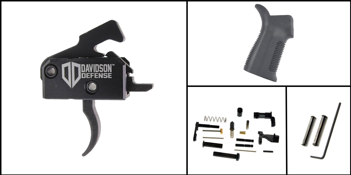 Delta Deals AR-15 Trigger Upgrade Kit Including Rise Armament Trigger + CMMG Lower Parts Kit + Trinity Force 17 Degree Grip + Davidson Defense Anti Walk Pins