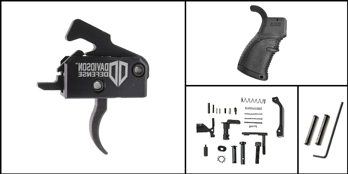 Delta Deals AR-15 Trigger Upgrade Kit Including Rise Armament Trigger + CMMG Lower Parts Kit + FAB Defense Pistol Grip + Davidson Defense Anti Walk Pins