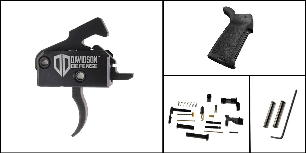 Delta Deals AR-15 Trigger Upgrade Kit Including Rise Armament Trigger + CMMG Lower Parts Kit + Magpul MOE Grip + Davidson Defense Anti Walk Pins
