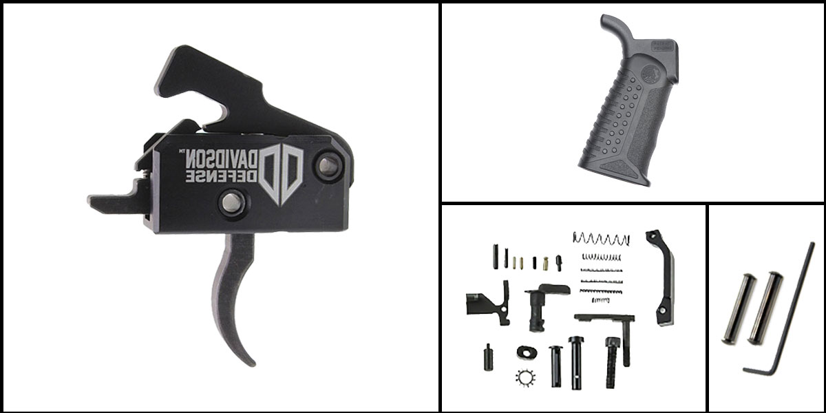 Delta Deals AR-15 Trigger Upgrade Kit Including Rise Armament Trigger + CMMG Lower Parts Kit + Battle Arms Development Tactical Grip + Davidson Defense Anti Walk Pins