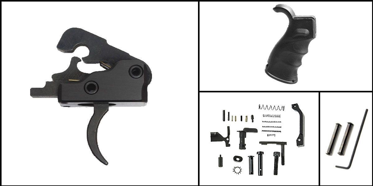 Delta Deals AR-15 Trigger Upgrade Kit Including Davidson Defense Trigger + CMMG Lower Parts Kit + M4 Polymer Pistol Grip + Davidson Defense Anti Walk Pins