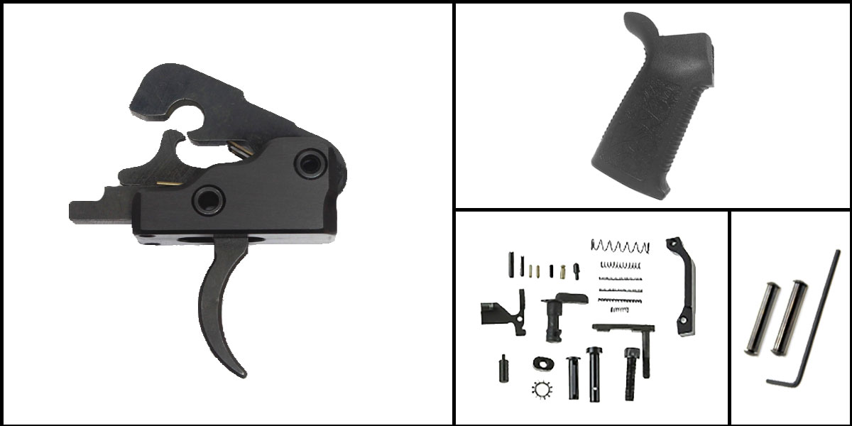Delta Deals AR-15 Trigger Upgrade Kit Including Davidson Defense Trigger + CMMG Lower Parts Kit + Spikes Tactical Pro Grip + Davidson Defense Anti Walk Pins