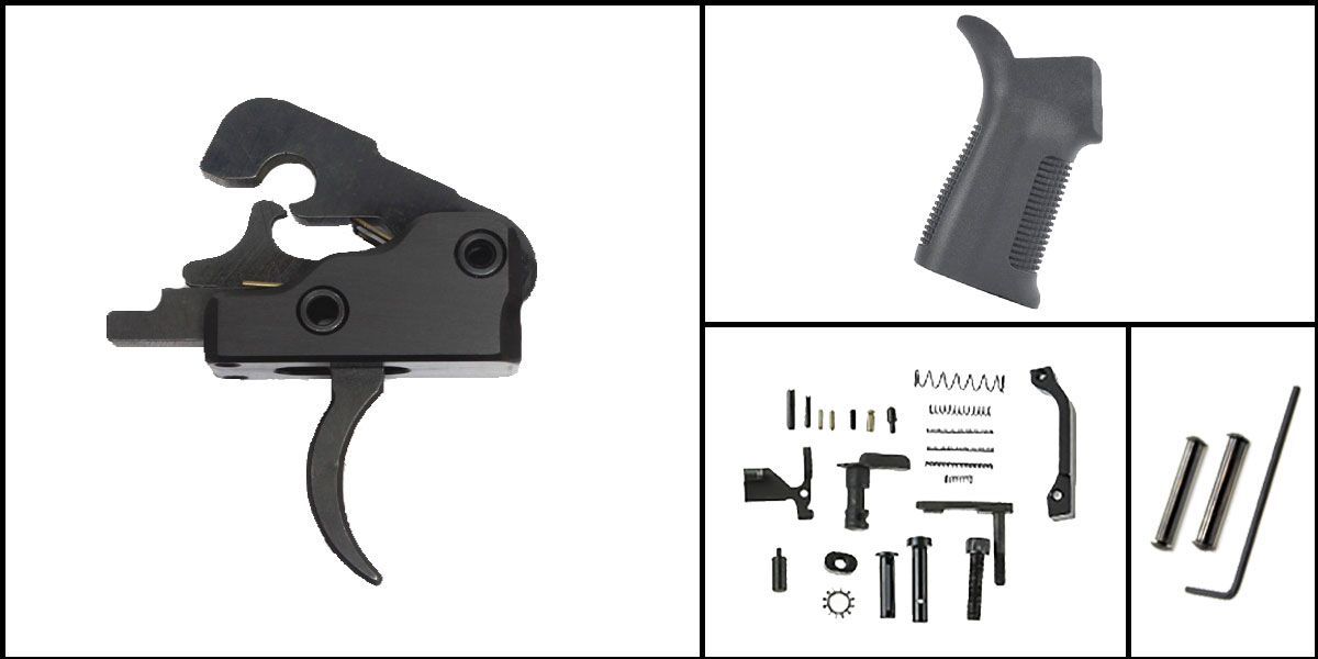 Delta Deals AR-15 Trigger Upgrade Kit Including Davidson Defense Trigger + CMMG Lower Parts Kit + Trinity Force 17 Degree Grip + Davidson Defense Anti Walk Pins