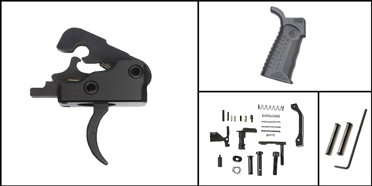 Delta Deals AR-15 Trigger Upgrade Kit Including Davidson Defense Trigger + CMMG Lower Parts Kit + Battle Arms Development Tactical Grip + Davidson Defense Anti Walk Pins