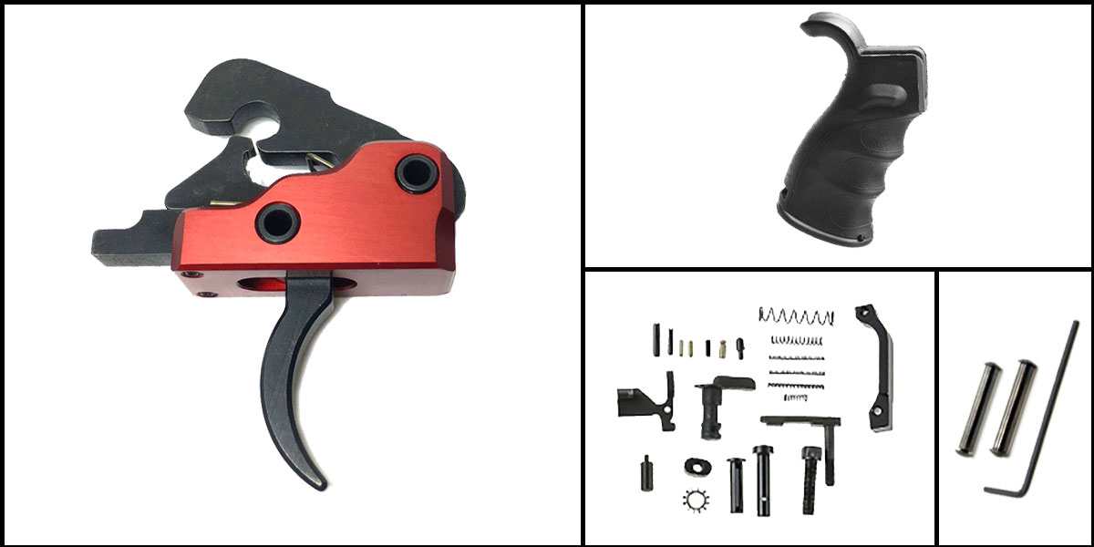 Delta Deals AR-15 Trigger Upgrade Kit Including Davidson Defense Red Trigger + CMMG Lower Parts Kit + M4 Polymer Pistol Grip + Davidson Defense Anti Walk Pins