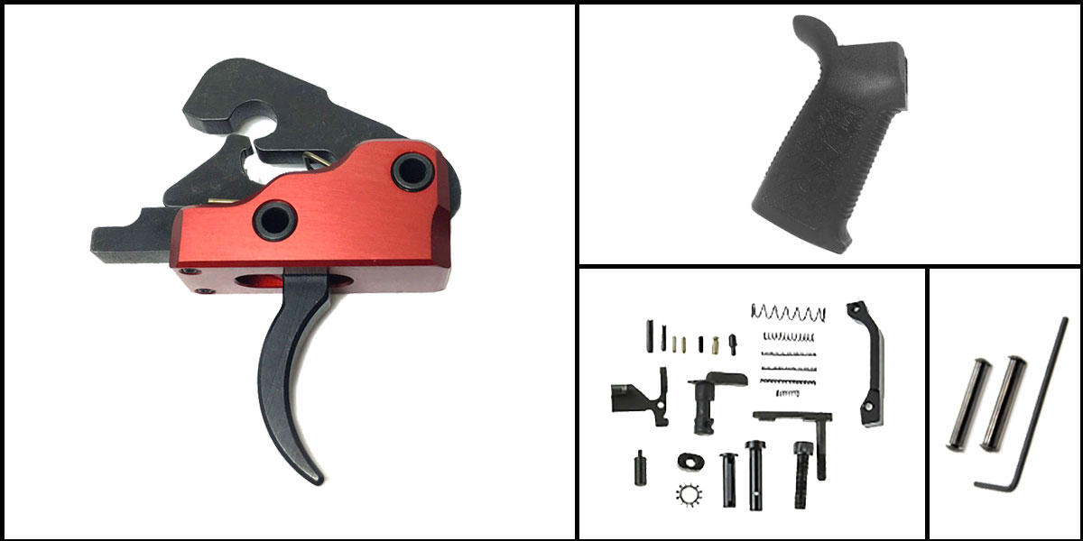 Delta Deals AR-15 Trigger Upgrade Kit Including Davidson Defense Red Trigger + CMMG Lower Parts Kit + Spikes Tactical Pro Grip + Davidson Defense Anti Walk Pins