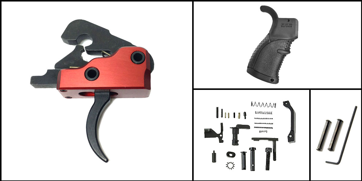 Delta Deals AR-15 Trigger Upgrade Kit Including Davidson Defense Red Trigger + CMMG Lower Parts Kit + FAB Defense Pistol Grip + Davidson Defense Anti Walk Pins