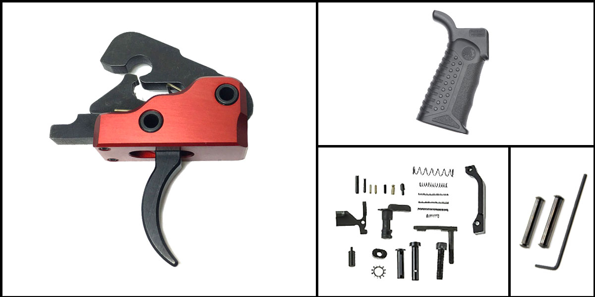 Delta Deals AR-15 Trigger Upgrade Kit Including Davidson Defense Red Trigger + CMMG Lower Parts Kit + Battle Arms Development Tactical Grip + Davidson Defense Anti Walk Pins