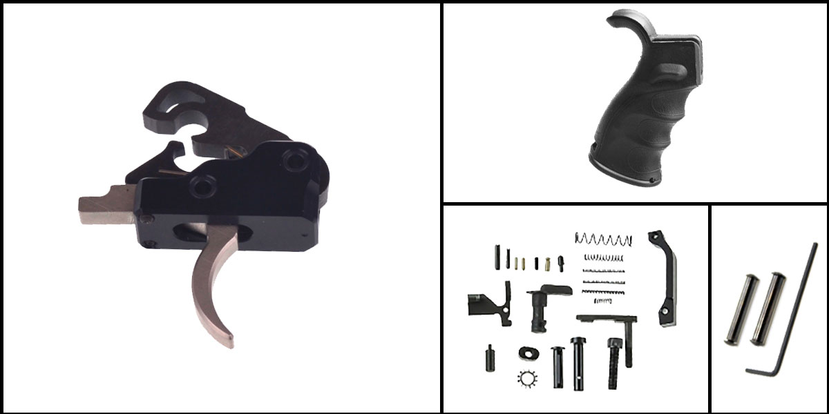 Delta Deals AR-15 Trigger Upgrade Kit Including Davidson Defense Nickel Boron Trigger + CMMG Lower Parts Kit + M4 Polymer Pistol Grip + Davidson Defense Anti Walk Pins