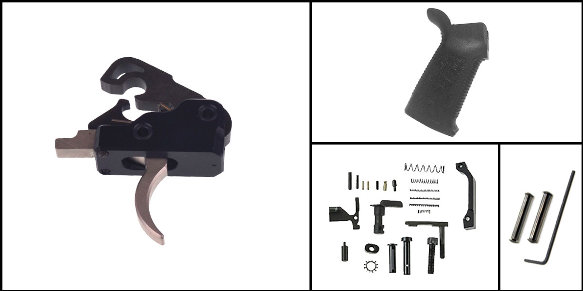 Delta Deals AR-15 Trigger Upgrade Kit Including Davidson Defense Nickel Boron Trigger + CMMG Lower Parts Kit + Spikes Tactical Pro Grip + Davidson Defense Anti Walk Pins