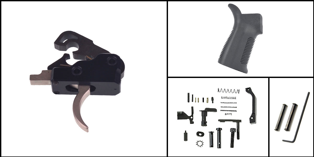 Delta Deals AR-15 Trigger Upgrade Kit Including Davidson Defense Nickel Boron Trigger + CMMG Lower Parts Kit + Trinity Force 17 Degree Grip + Davidson Defense Anti Walk Pins