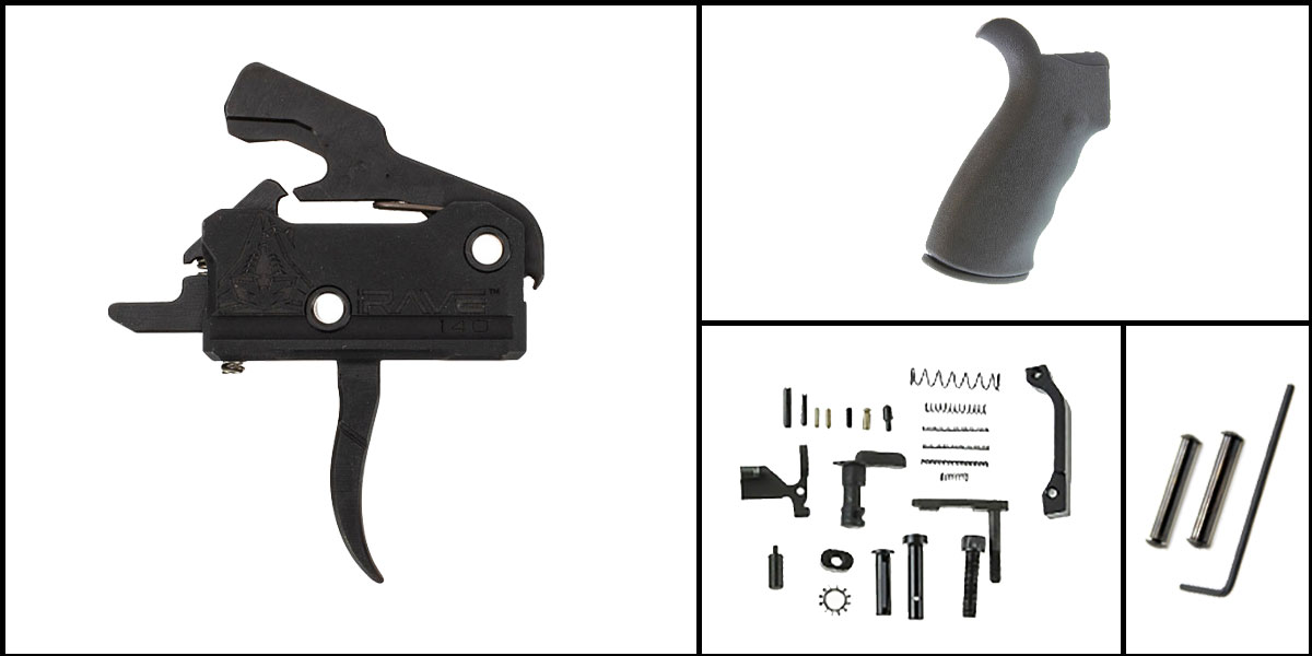 Delta Deals AR-15 Trigger Upgrade Kit Including Rise Armament Flat Trigger + CMMG Lower Parts Kit + Omega Mfg. Beavertail Grip