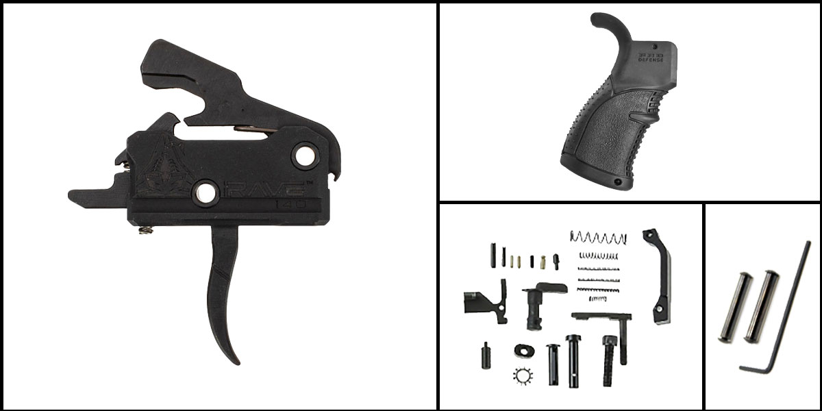 Delta Deals AR-15 Trigger Upgrade Kit Including Rise Armament Flat Trigger + CMMG Lower Parts Kit + FAB Defense Pistol Grip