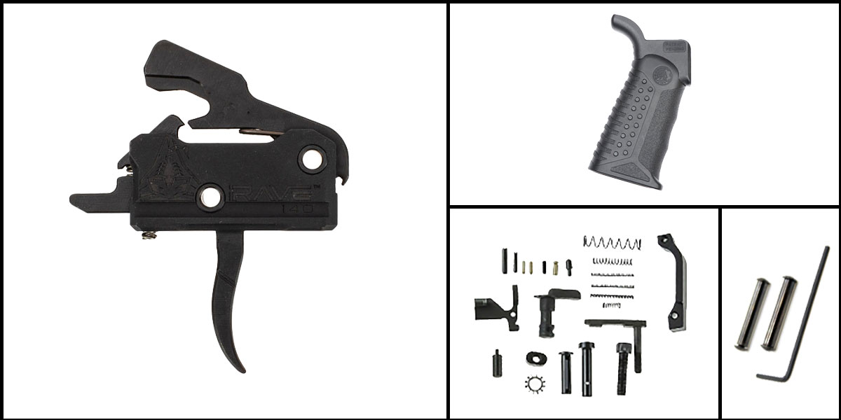 Delta Deals AR-15 Trigger Upgrade Kit Including Rise Armament Flat Trigger + CMMG Lower Parts Kit + Battle Arms Development Tactical Grip
