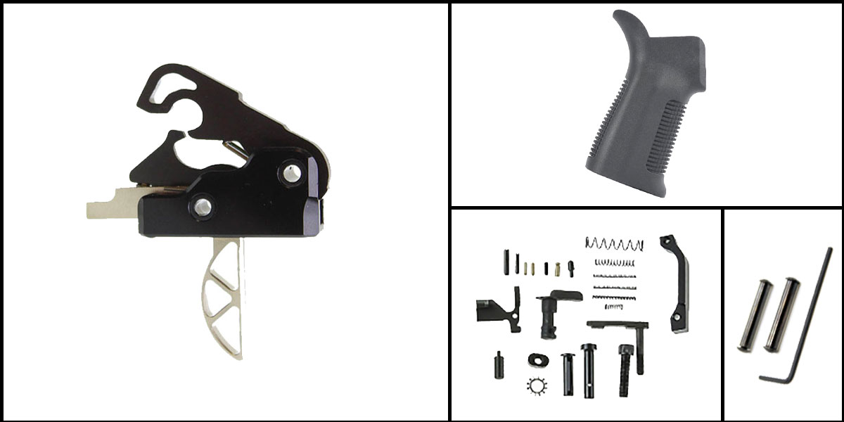 Delta Deals AR-15 Trigger Upgrade Kit Including Davidson Defense Skeletonized Trigger + CMMG Lower Parts Kit + Trinity Force 17 Degree Grip + Davidson Defense Anti Walk Pins
