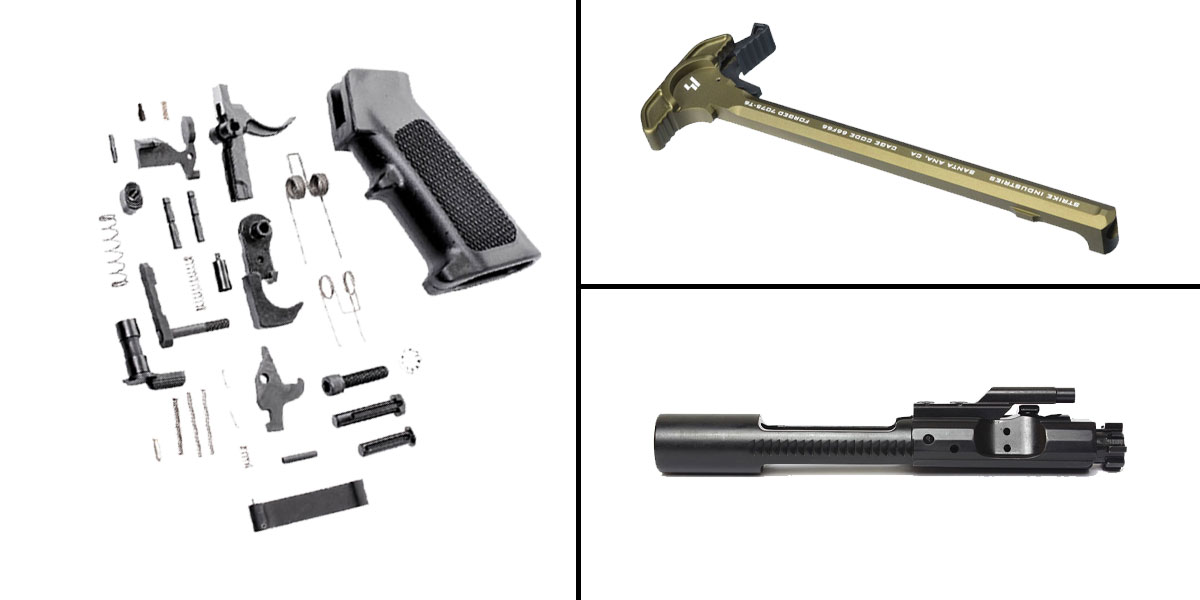 Delta Deals CMMG Lower Parts Kit + AR-15 5.56/.223/.300/.350 BCG + Strike Industries Charging Handle FDE
