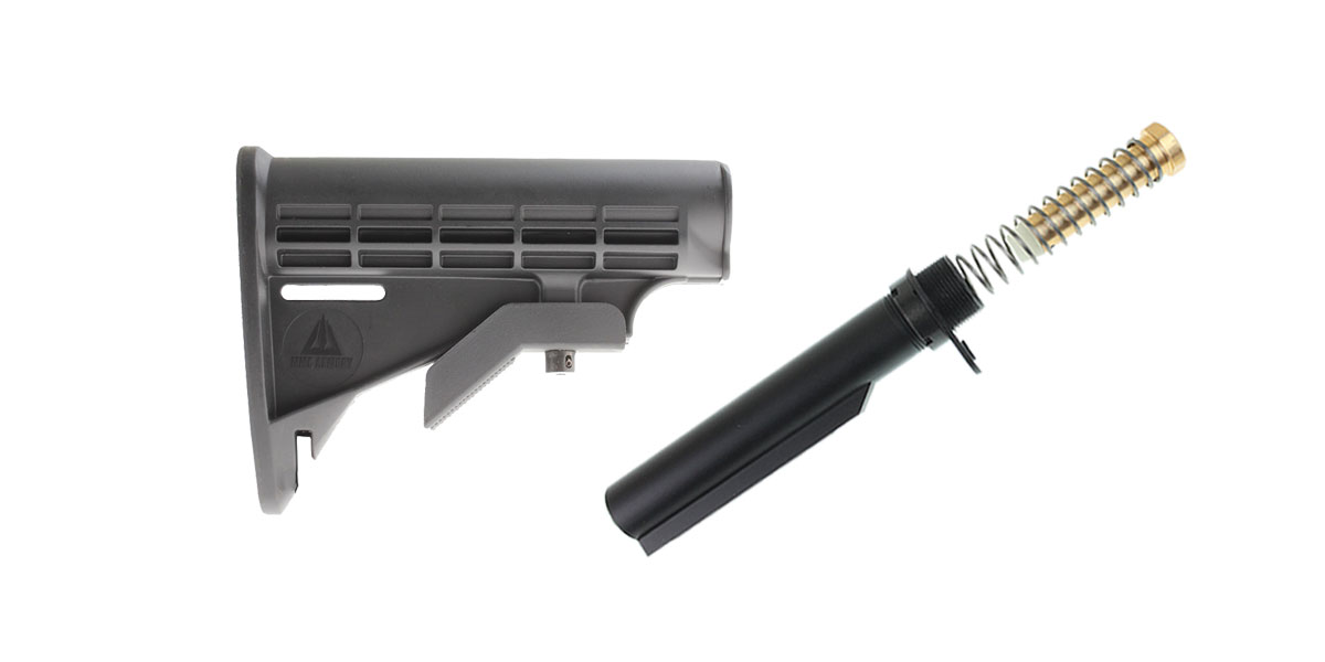 Delta Deals MMC Armory 6-Position Adjustable Polymer LE Butt Stock - Minus Sling Loop + Omega Mfg. Mil-Spec Buffer Tube Kit