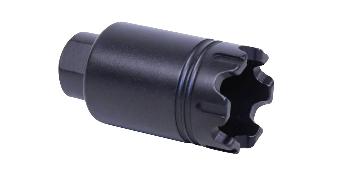 Guntec AR-15 Micro 'Trident' Flash Can with Glass Breaker, 1/2x28, Black