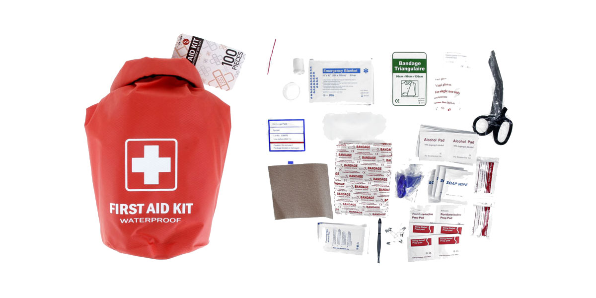 SE 100 Pc First Aid Kit Stored in a Waterproof Red Dry Sack