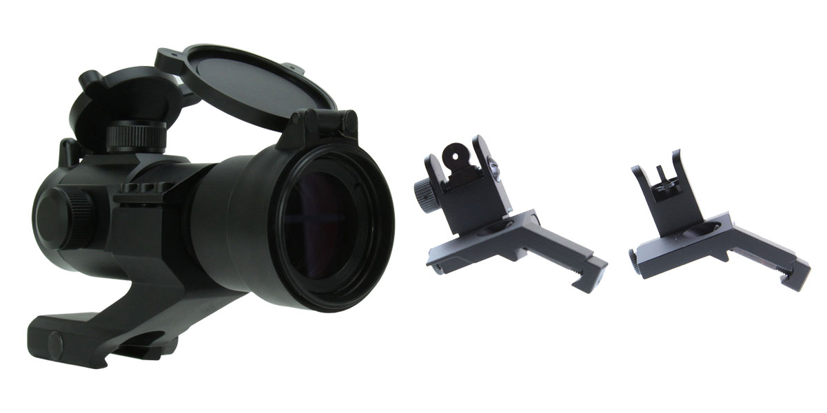 Delta Deals U.S Tactical Ind 45 Degree Offset Spring Loaded Flip-Up Sight Set + Tac Fire Red Dot Sight