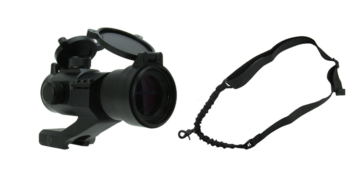 Delta Deals 1X30 TRI. ILLUMINATED RED/GREEN/BLUE DOT SIGHT WITH CANTILEVER MOUNT + One Point Bungee Rifle Sling/Black