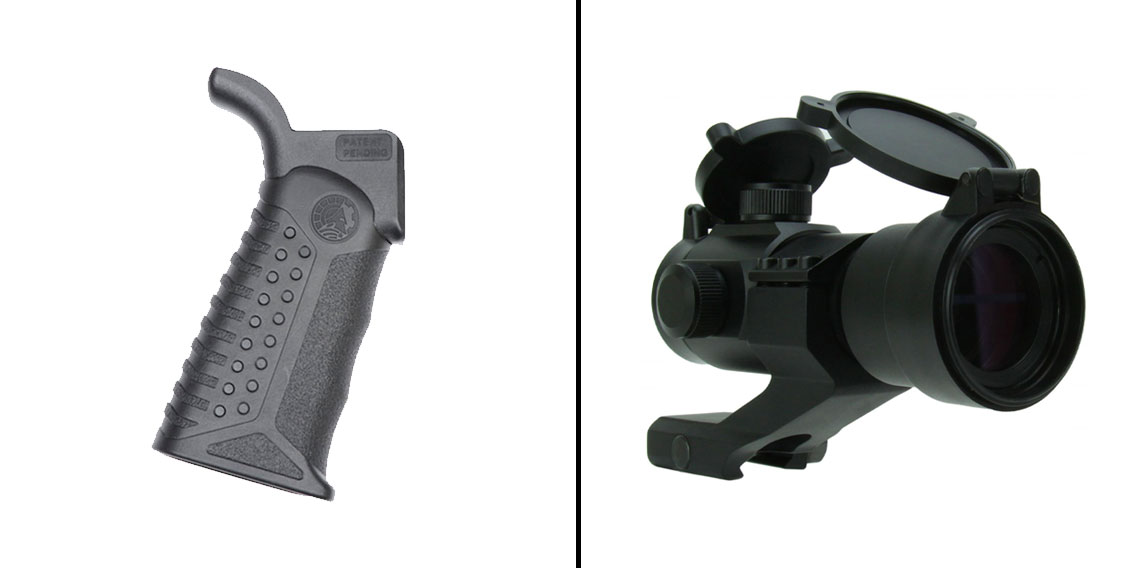 Delta Deals Battle Arms Development Adjustable Tactical Grip - 3 Grip Angles + 1X30 Dual Illuminated Red/Green Dot Sight