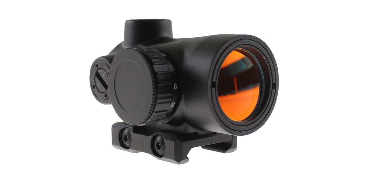 Red Dot Sight w/ Low Profile Rail Mount, 2 MOA Dot, 25MM Objective Lens - Black Finish