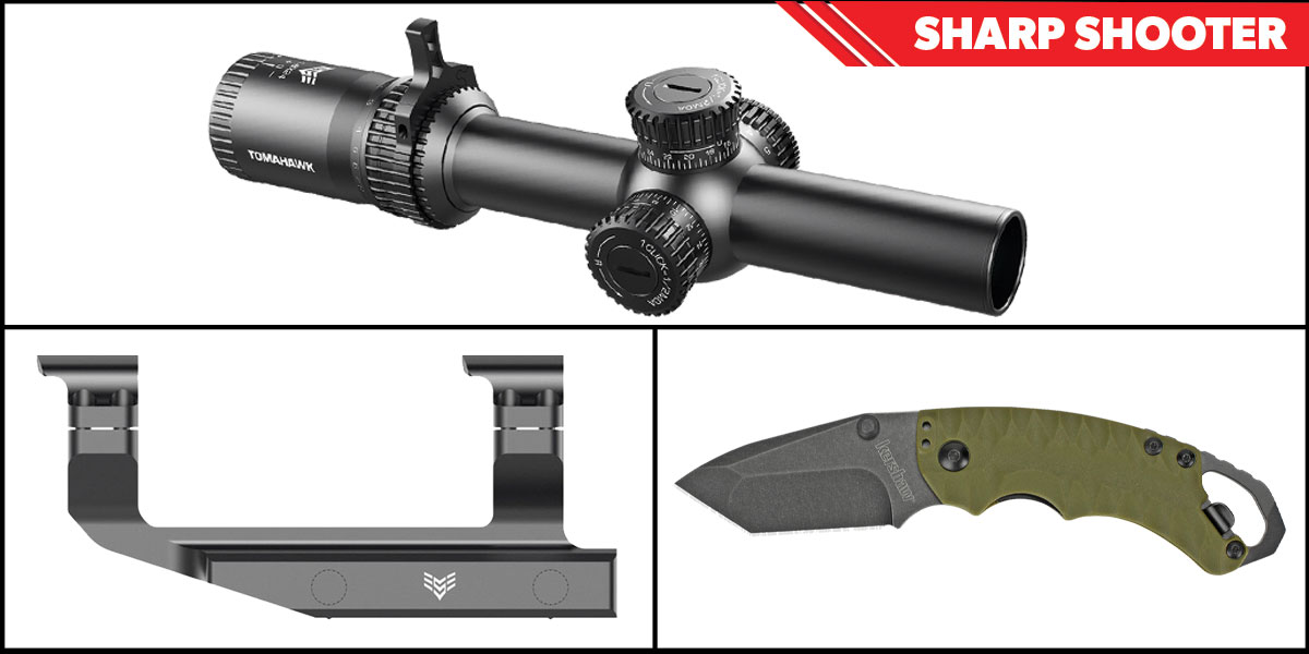 Delta Deals Sharp Shooter Combos: Swampfox Optics Tomahawk LPVO Scope BDC Reticle 1-4x24 + Kershaw Shuffle II Folding Knife + Swampfox Optics Independence Mount 30mm
