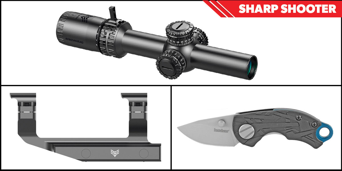 Delta Deals Sharp Shooter Combos: Swampfox Optics Arrowhead 30mm Tube Scope 1-6x24 + Kershaw Aftereffect Folding Knife + Swampfox Optics Independence Mount 30mm