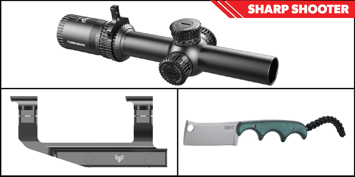 Delta Deals Sharp Shooter Combos: Swampfox Optics Tomahawk LPVO Scope MOA Reticle 1-4x24 + CRKT Minimalist Cleaver + Swampfox Optics Independence Mount 30mm