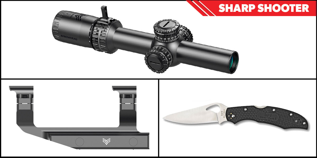 Delta Deals Sharp Shooter Combos: Swampfox Optics Arrowhead LPVO Scope MOA Reticle 1-10x24 + Spyderco Byrd Folding Knife + Swampfox Optics Independence Mount 30mm