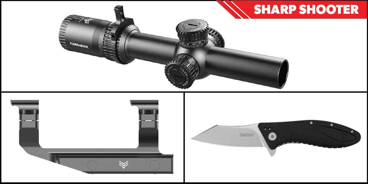Delta Deals Sharp Shooter Combos: Swampfox Optics Tomahawk LPVO Scope MOA Reticle 1-4x24 + Kershaw Grinder Folding Knife + Swampfox Optics Independence Mount 30mm