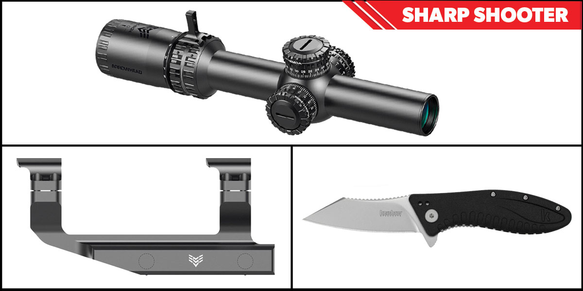 Delta Deals Sharp Shooter Combos: Swampfox Optics Arrowhead 30mm Tube Scope 1-6x24 + Kershaw Grinder Folding Knife + Swampfox Optics Independence Mount 30mm