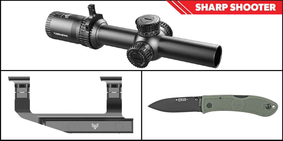 Delta Deals Sharp Shooter Combos: Swampfox Optics Tomahawk LPVO Scope BDC Reticle 1-4x24 + KABAR Hunter Folding Knife 3